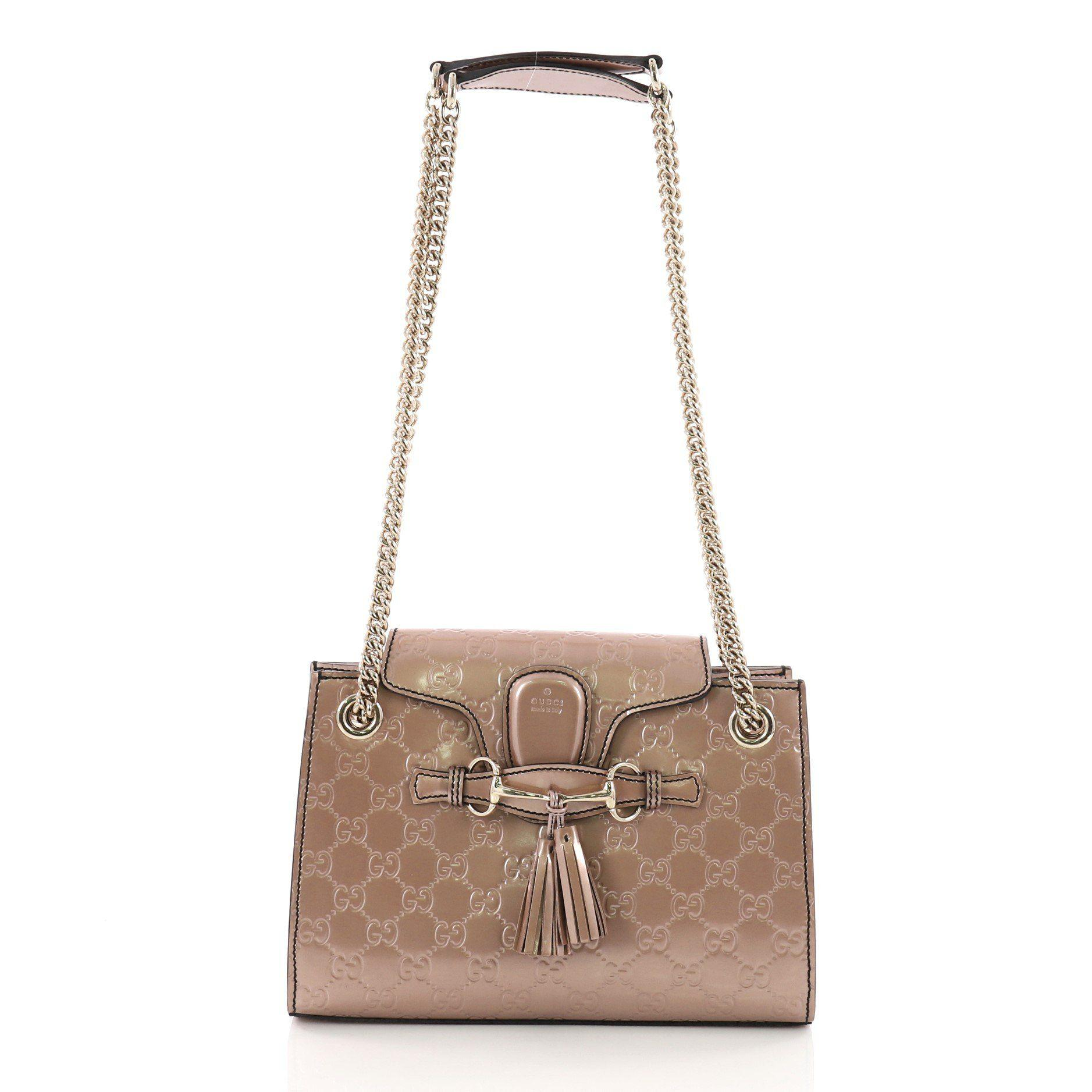 e7d45373a2c4aa Gucci. Women's Pre Owned Emily Chain Flap Shoulder Bag Ssima Patent Small