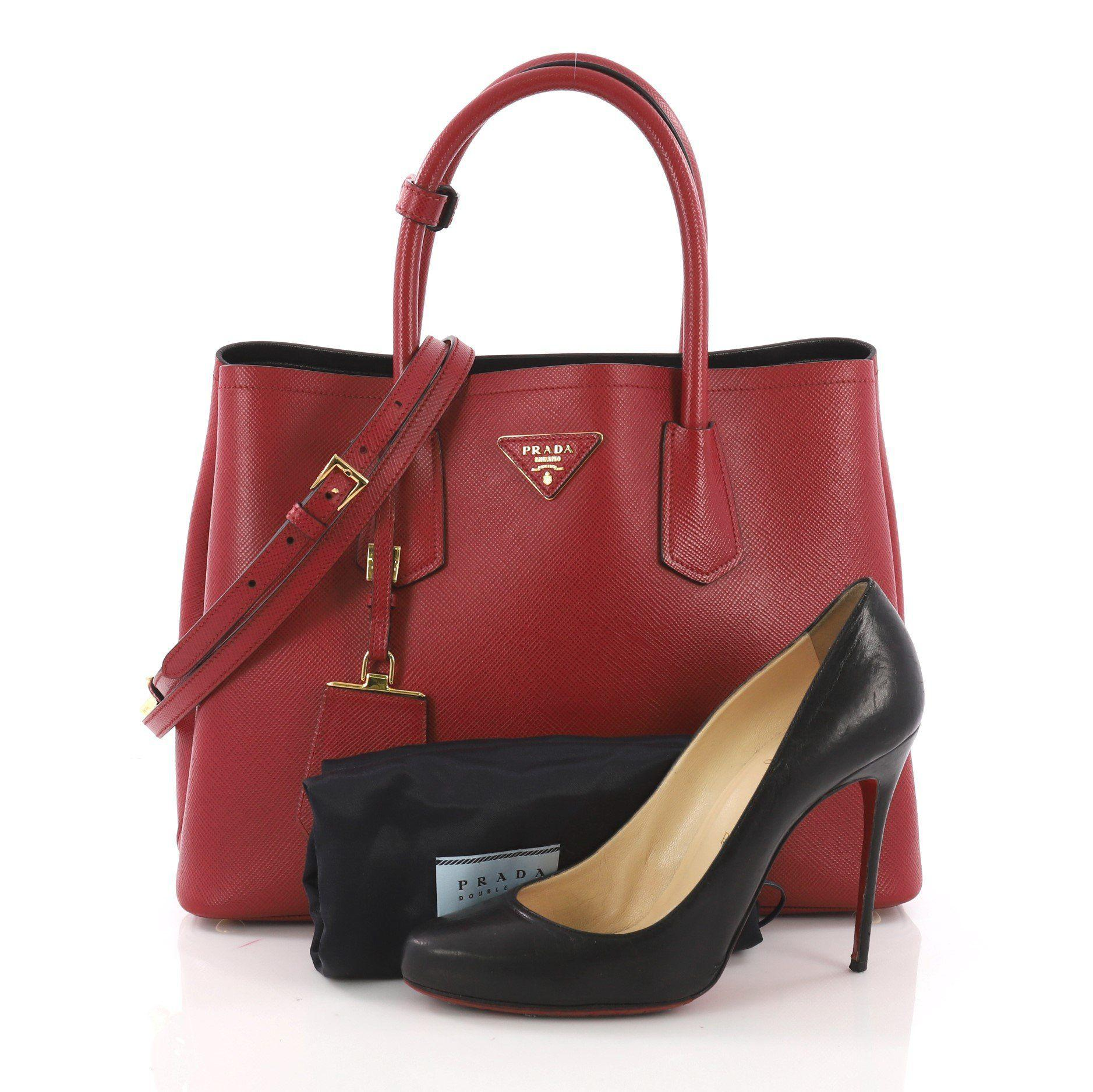9cb9b49f456b Prada - Red Pre Owned Cuir Double Tote Saffiano Leather Small - Lyst. View  fullscreen