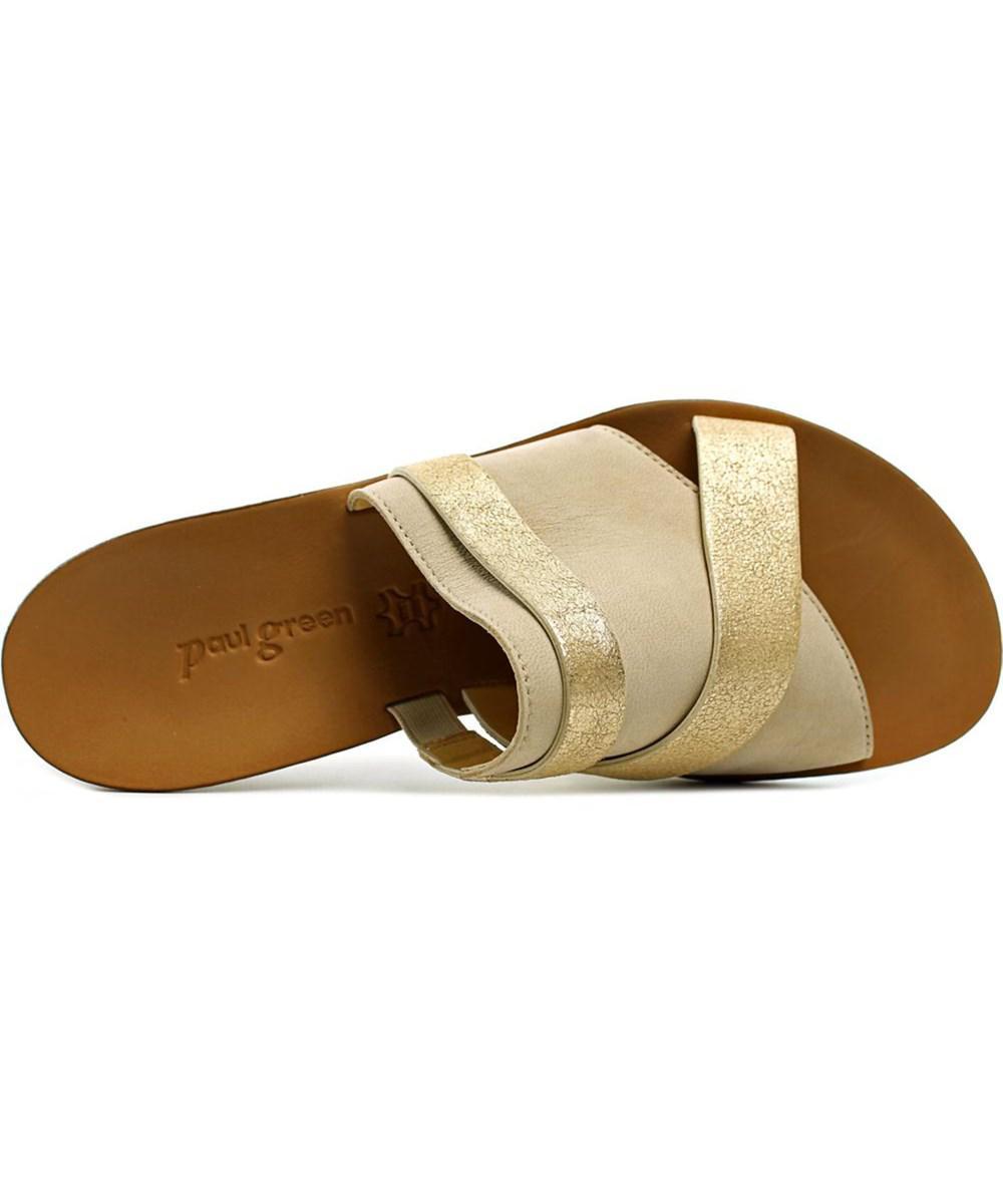 lyst paul green bayside open toe leather slides sandal in metallic