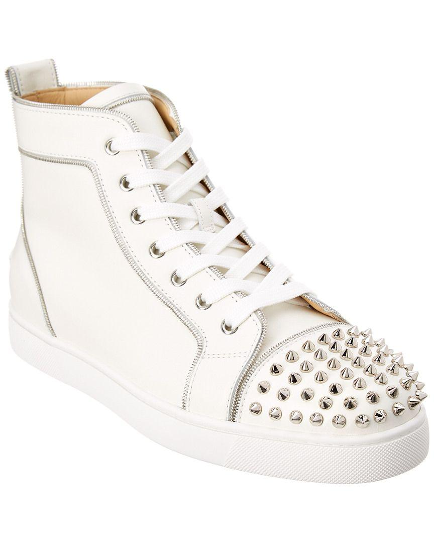 3d1a7211bee Lyst - Christian Louboutin Lou 2 Spiked Leather Sneaker in White for Men