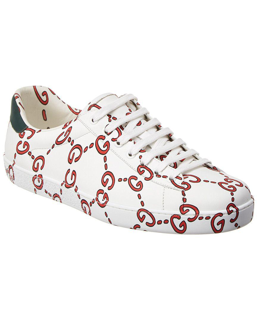 9ada2be37b3 Lyst - Gucci Ace Leather Sneaker in White for Men