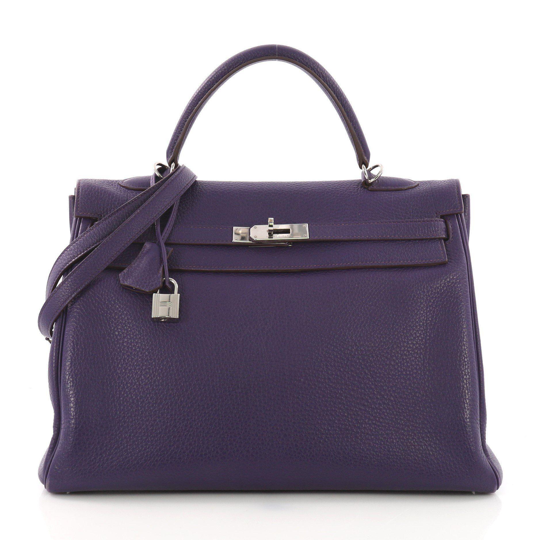 542540f2c8a4 Hermès. Women s Purple Pre Owned Kelly Handbag Iris Togo With Palladium  Hardware 35