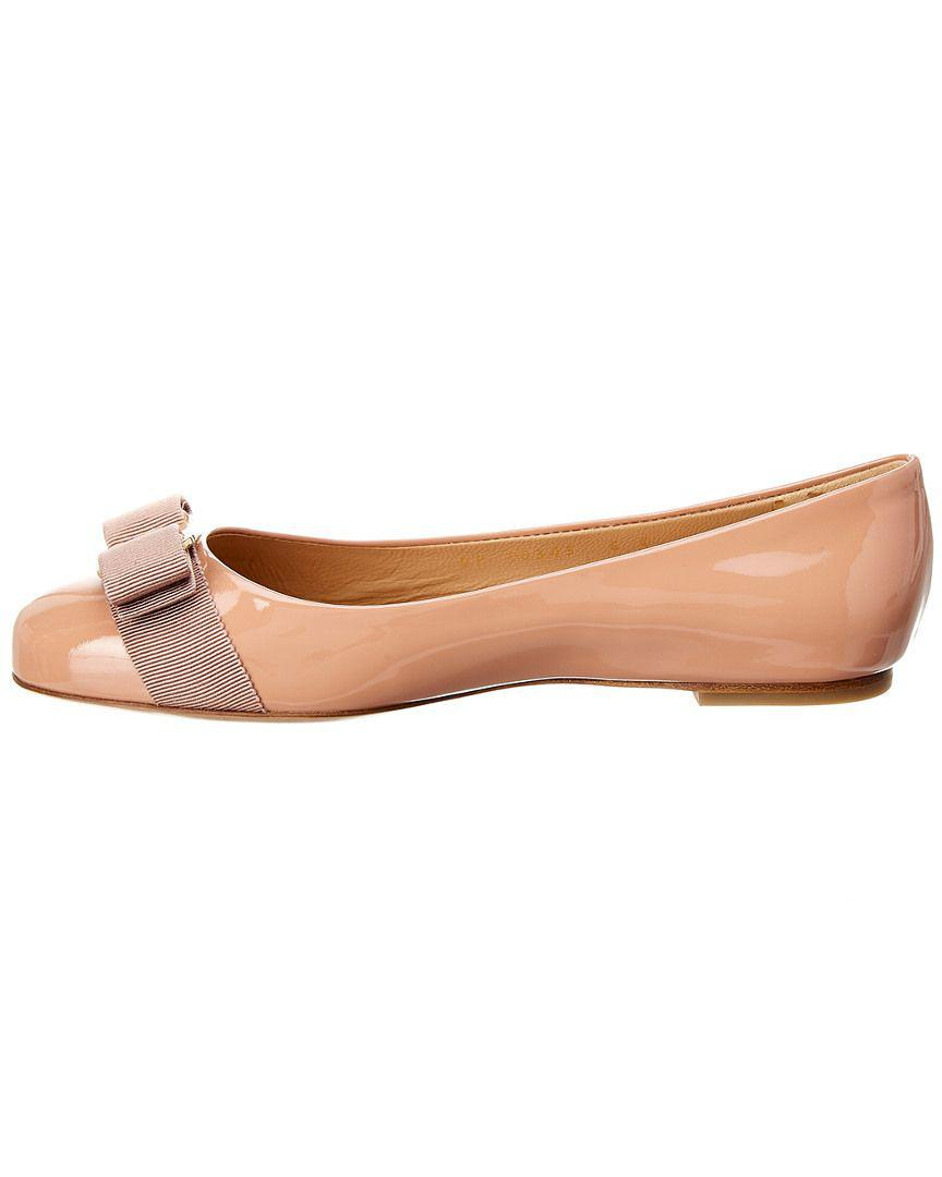 e08393c5be0d Lyst - Ferragamo Varina Patent Ballet Flat