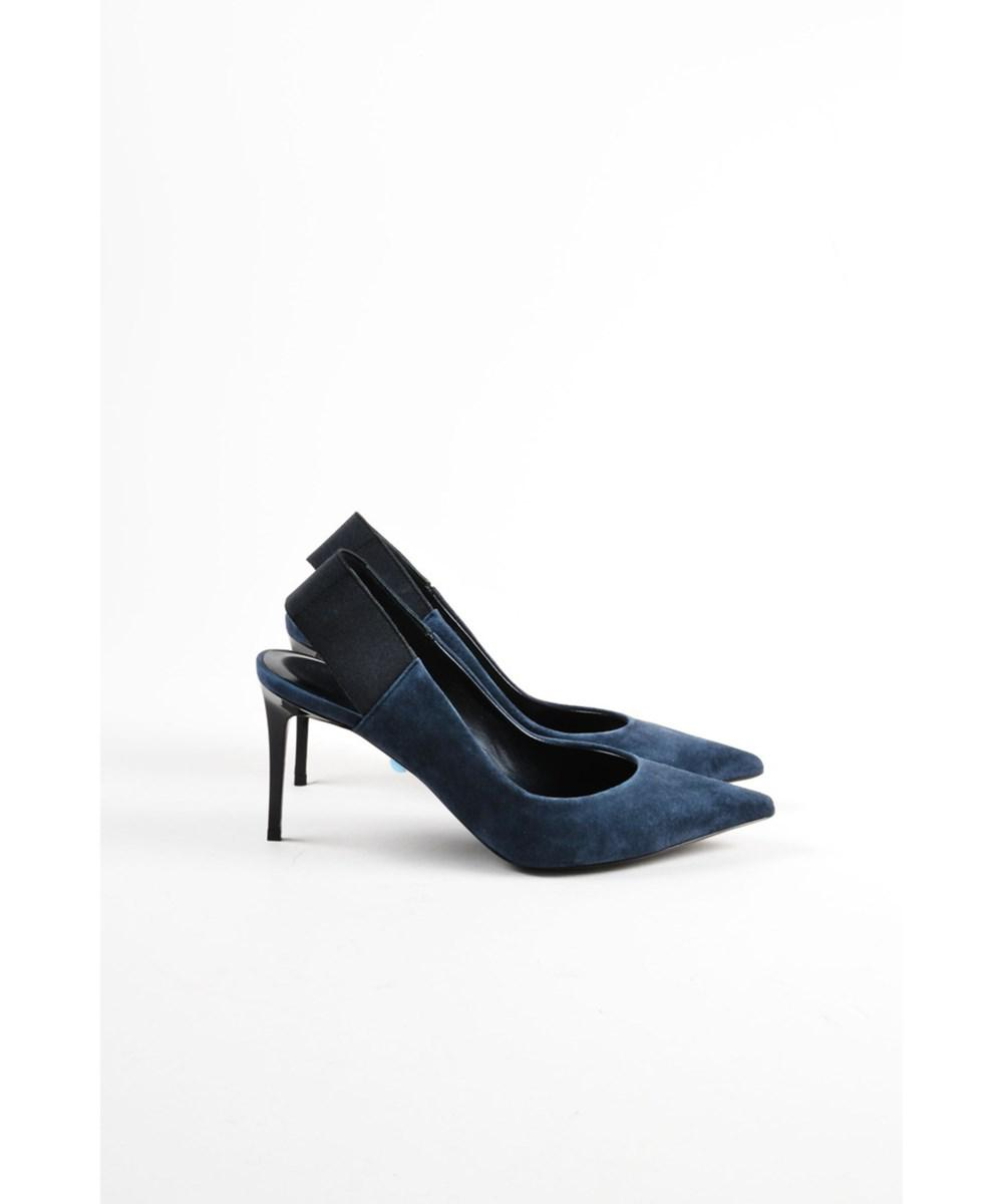 04dd8536907c Lyst - Philippe Model Nib Navy Blue Suede Pointed Toe Katherine ...