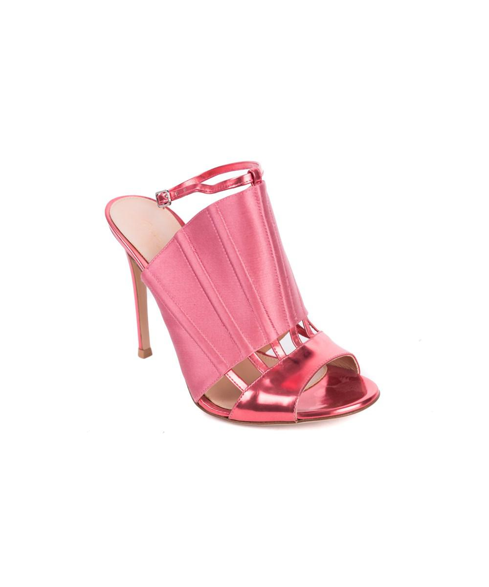 8e97deee433 Lyst - Gianvito Rossi Pink Corset Caged Metallic Leather Sandal Heel ...