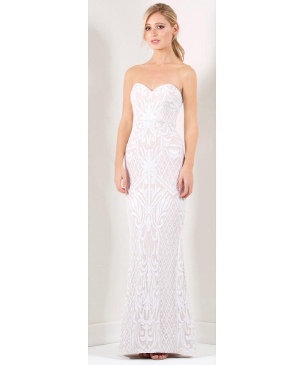 Lyst - Bariano Olivia Strapless Sequin Gown in White