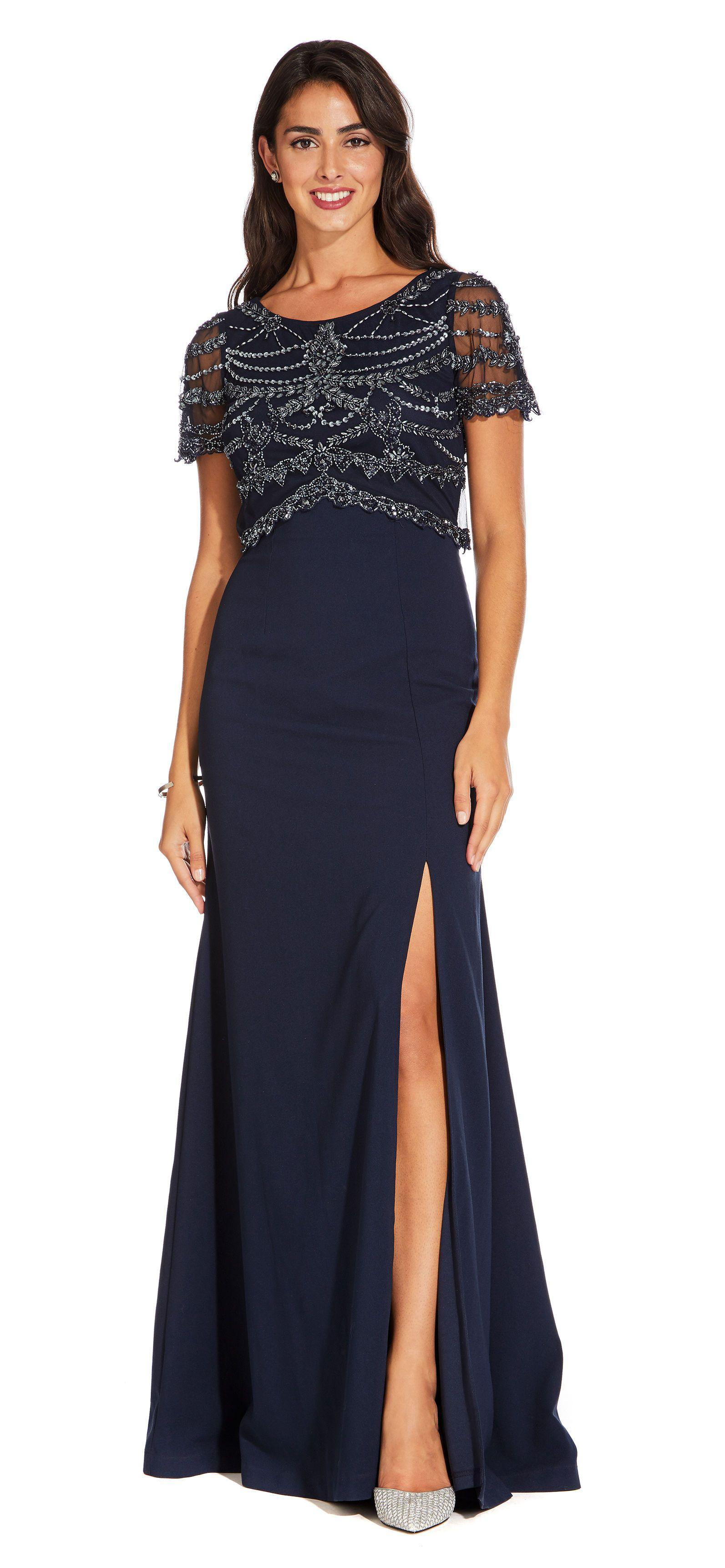b793ffc7fb4a Adrianna Papell. Women's Blue Short Sleeve Crepe Mermaid Gown With Beaded  Popover Bodice