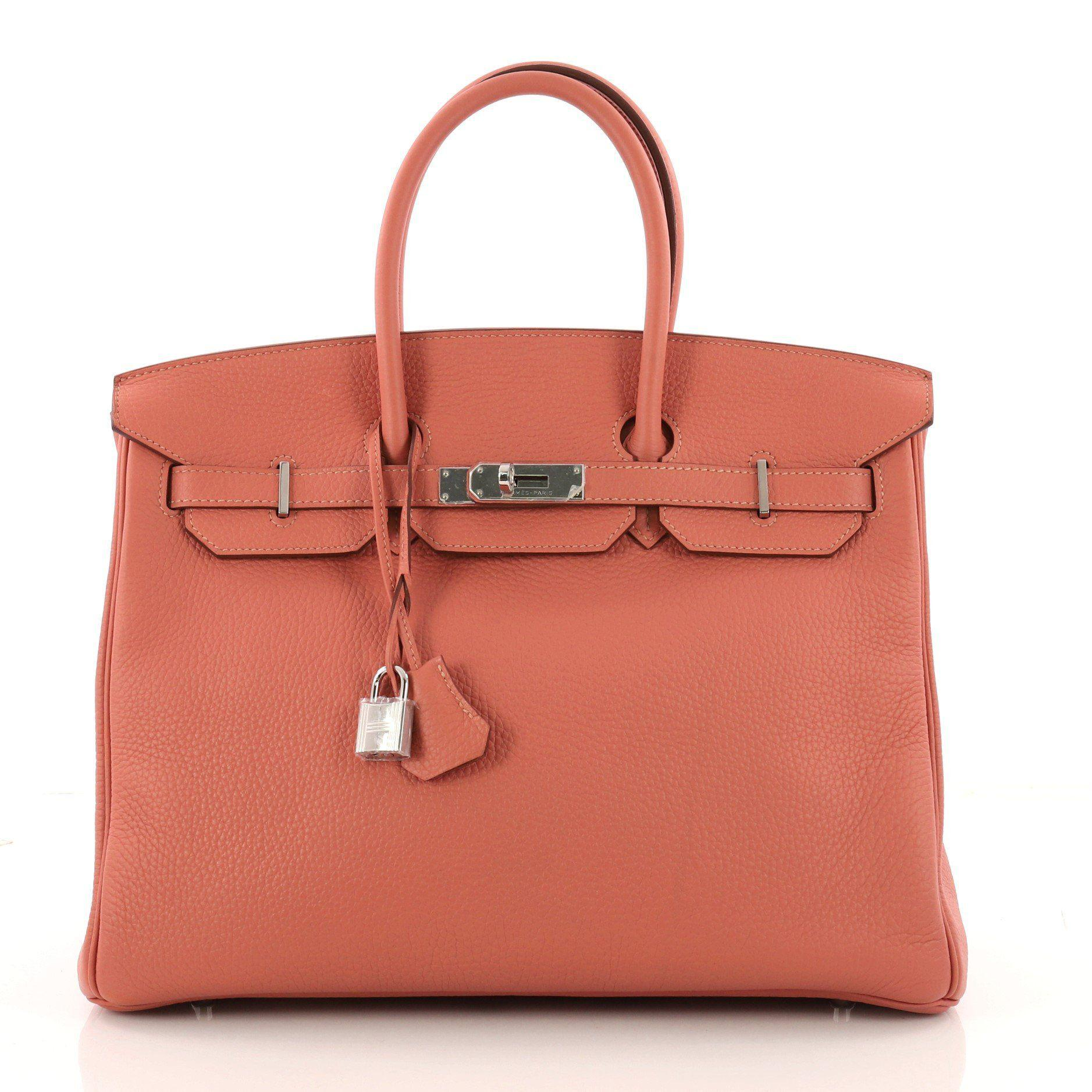 1c94a9aeb538 Lyst - Hermès Pre Owned Birkin Handbag Rose Tea Clemence With ...