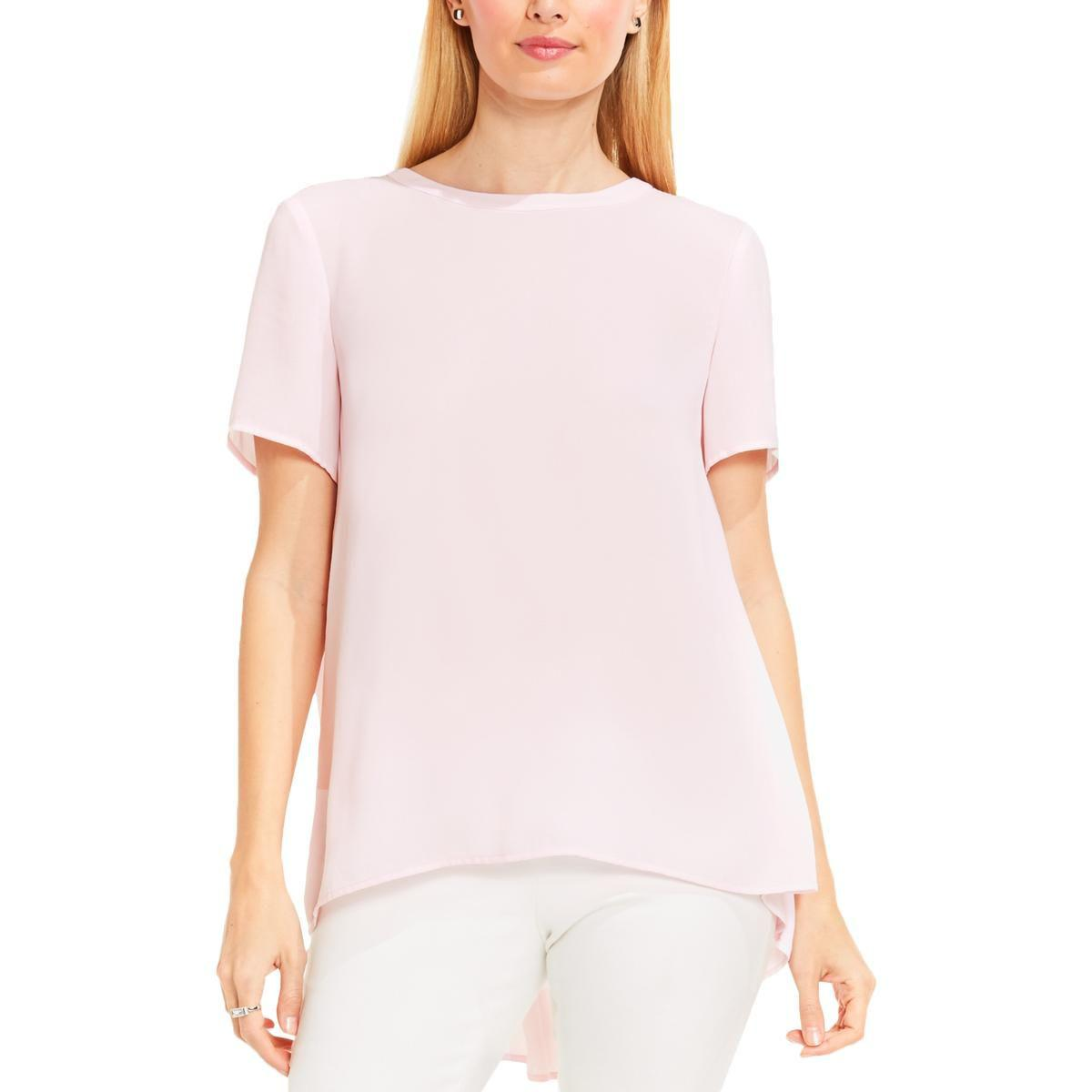 54410b5d6f0ce3 Lyst - Vince Camuto Womens Lace Back Hi Low Hem Blouse in Pink