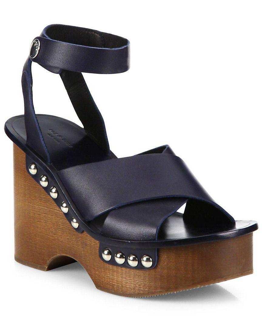 57b25013a7a Lyst - Rag   Bone Hester Leather Ankle-strap Wedge Clog Sandals in ...