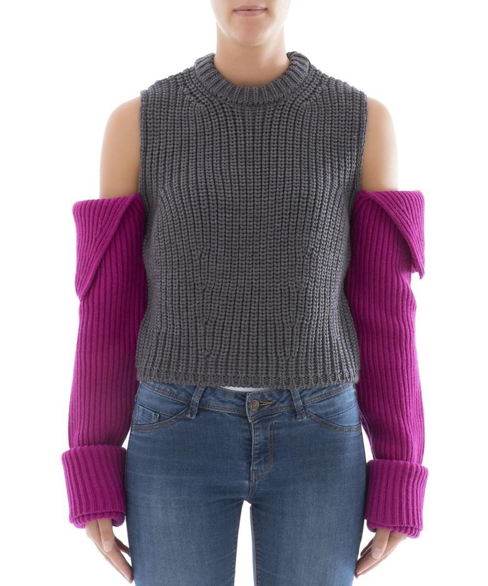 Calvin klein Women's Grey/pink Sweater in Gray | Lyst