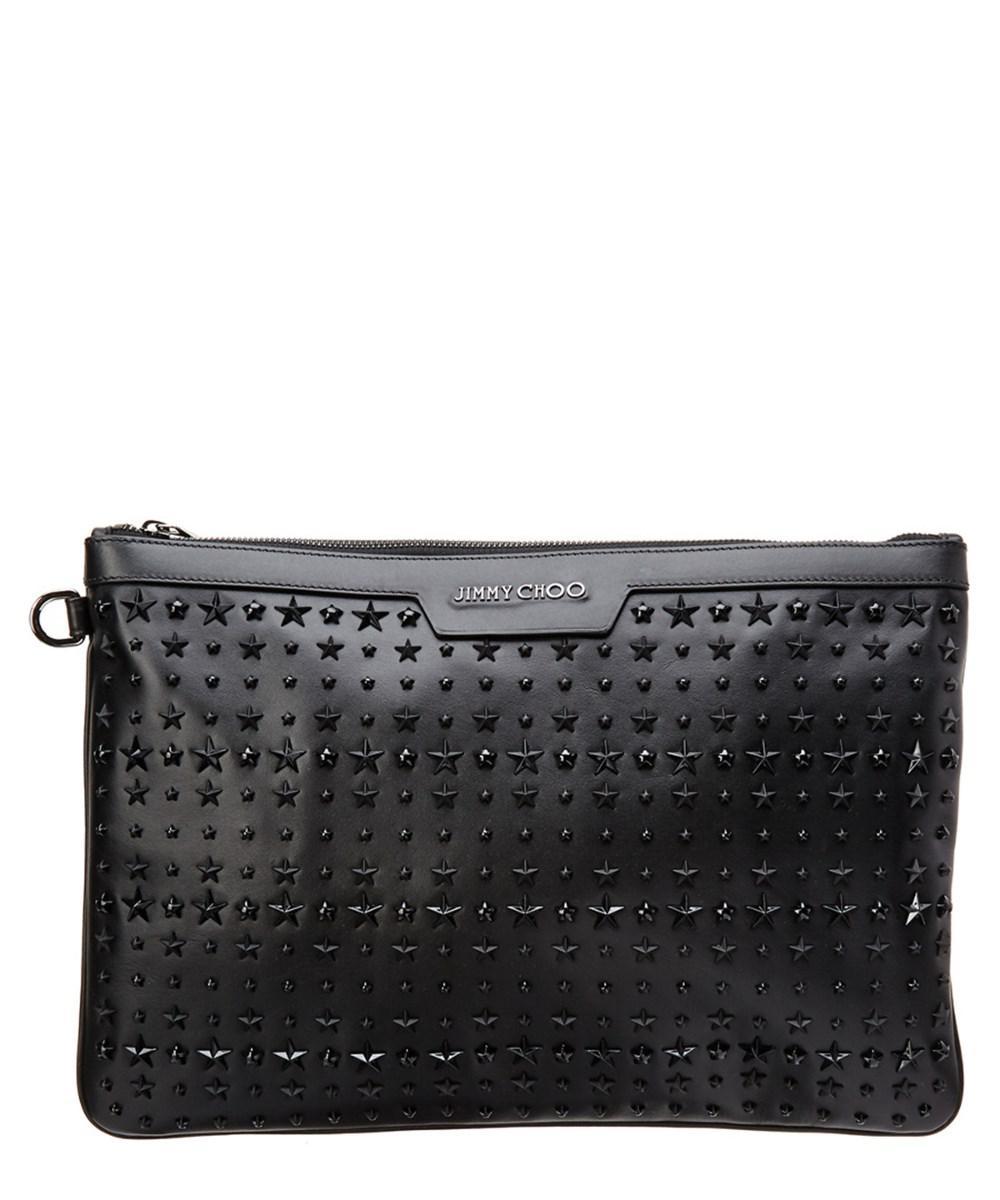 209792fdf879 Jimmy Choo - Black Derek Star-embellished Leather Document Holder for Men -  Lyst. View fullscreen
