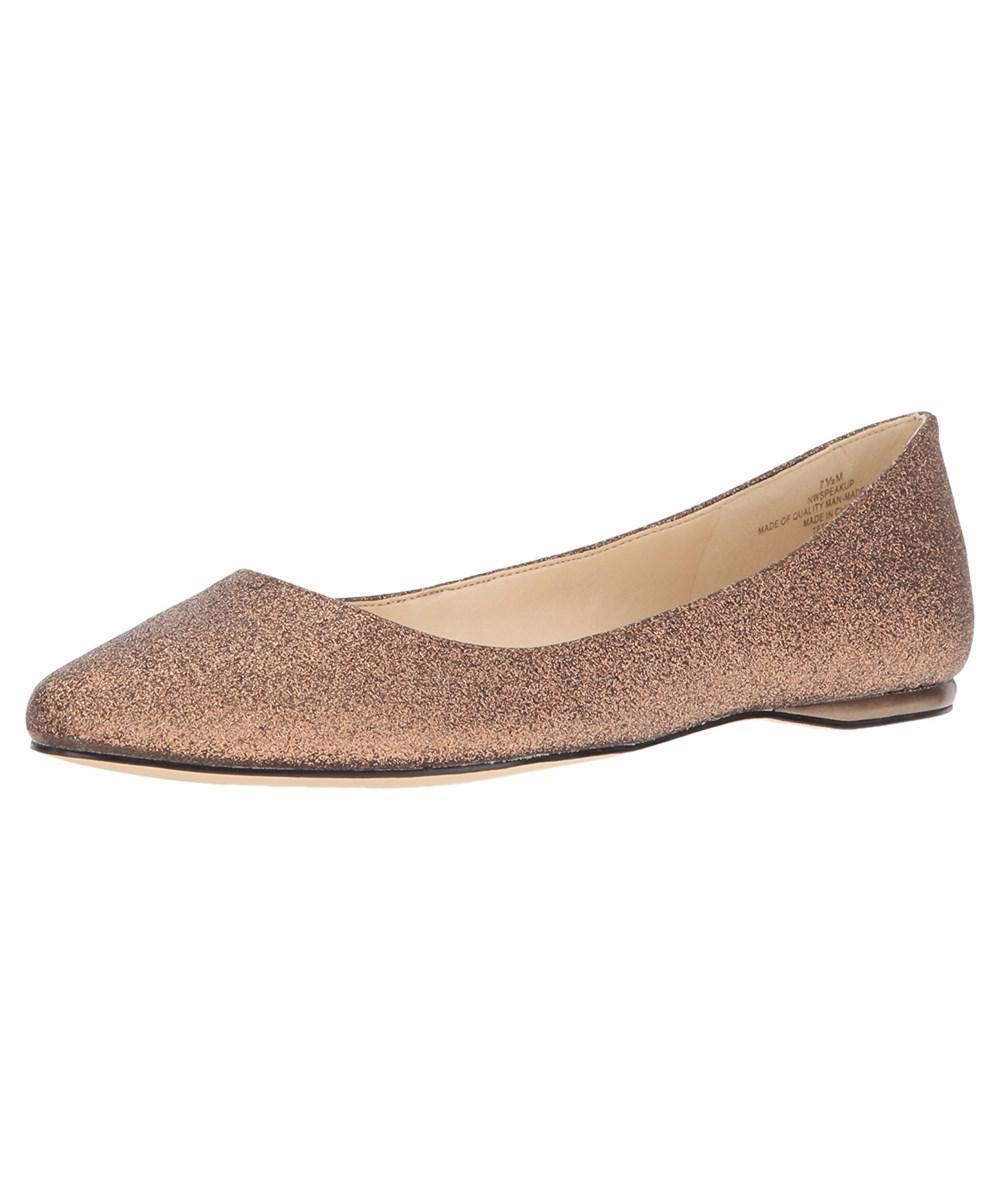 Nine West. Brown Women's Speakup Metallic Pointed Toe Flat, Dark Bronze ...