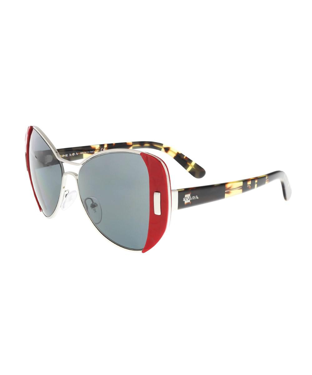 0a35a208de3 ... aliexpress lyst prada pr 60ss smn9k1 silver red square sunglasses in  metallic 9d216 ebfbb