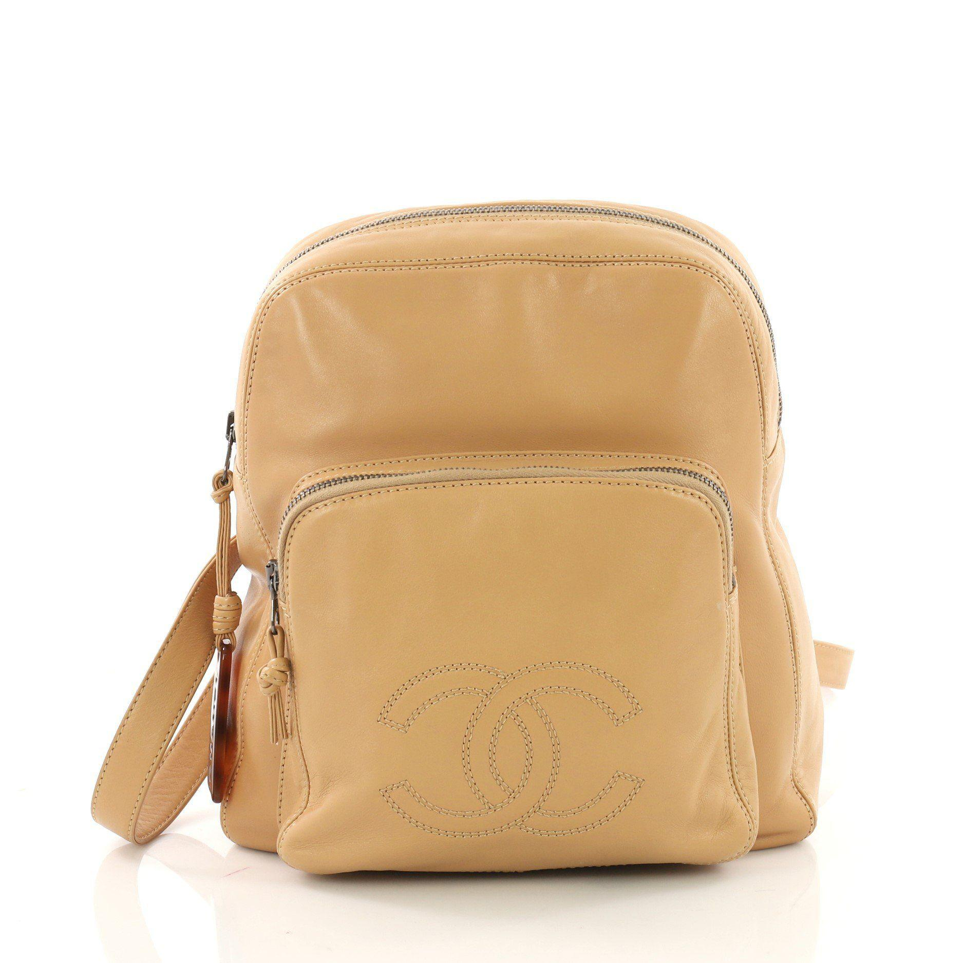 4791a2e874967c Lyst - Chanel Pre Owned Vintage Cc Pocket Backpack Leather Medium in ...