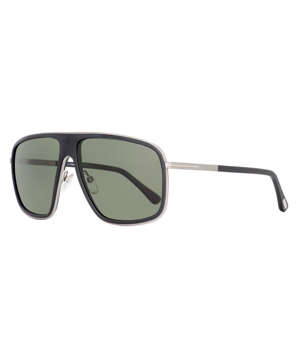 34d82e19f6 Tom Ford Quentin TF 463 02R Matte Black Sunglasses Green Polarized Lens  Size 60