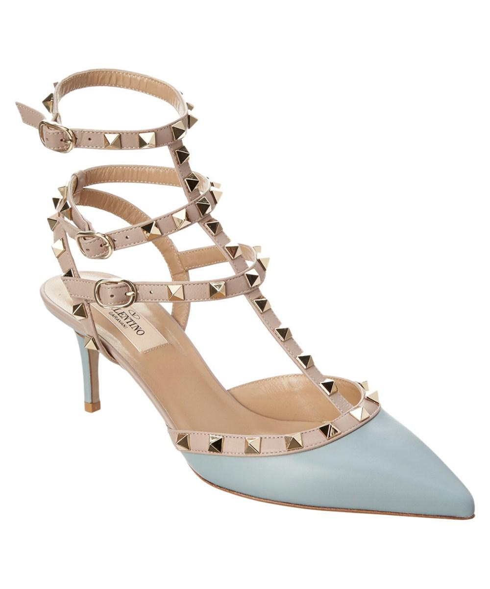 42c34695d5d Lyst - Valentino Rockstud Leather Ankle Strap Pump in Blue - Save 5%