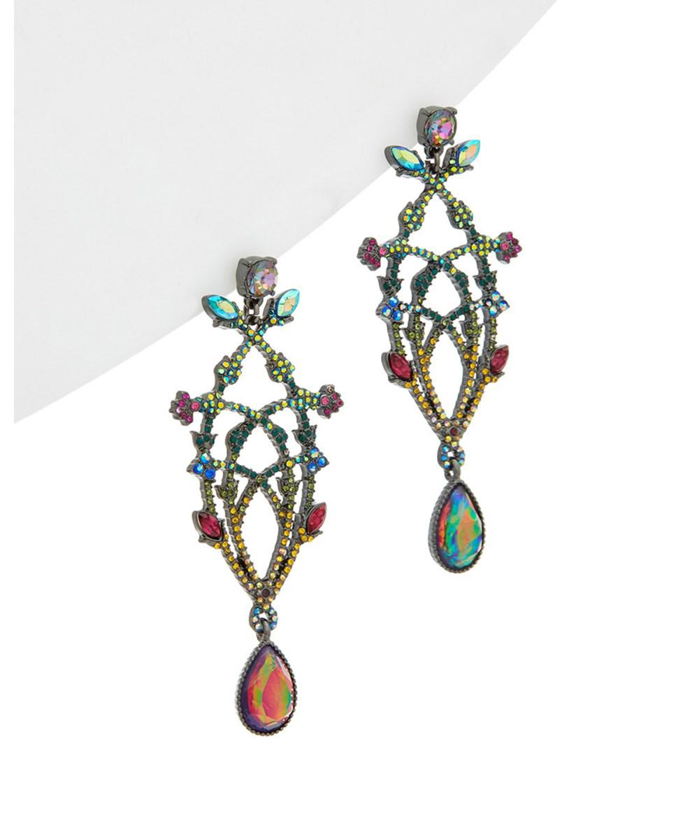 Lyst betsey johnson surreal forest cz enamel multi color betsey johnson womens surreal forest cz enamel multi color chandelier flower earrings arubaitofo Image collections