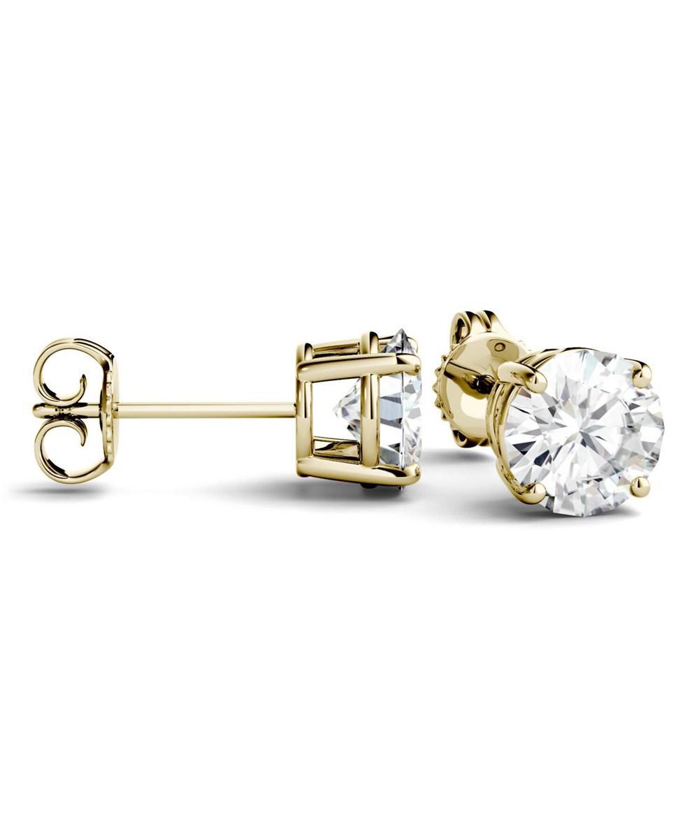 28c84ac1c Charles & Colvard. Women's Metallic 14k Yellow Gold Moissanite By 5.0mm Round  Stud Earrings ...