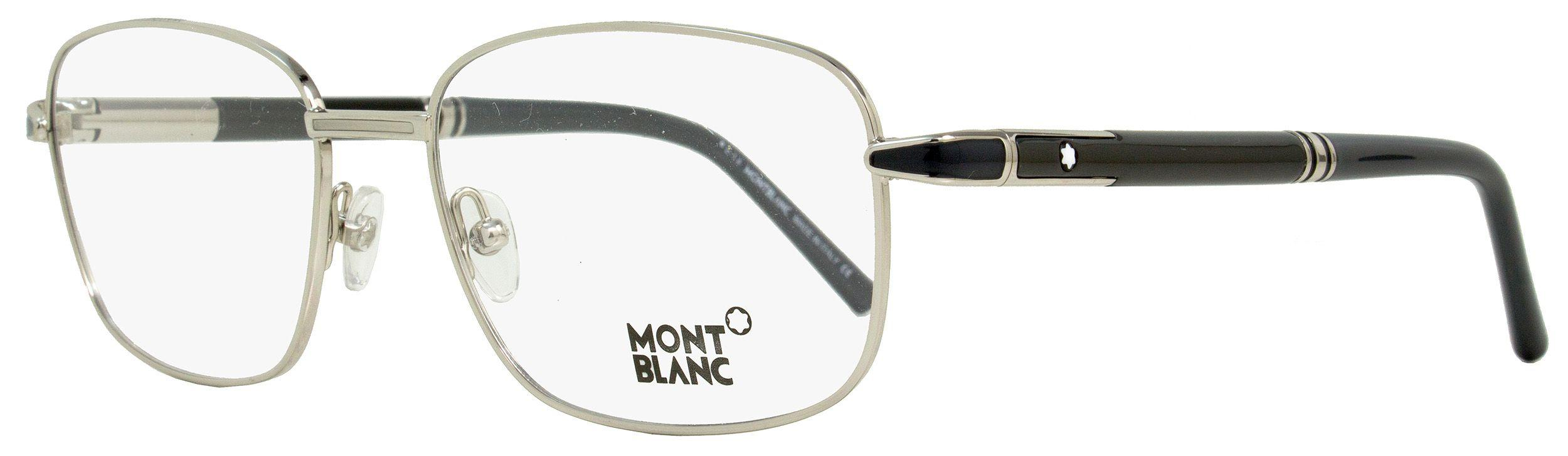5ca0bf8691e2 Montblanc. Men's Rectangular Eyeglasses Mb529 016 Size: 56mm Palladium/black  529