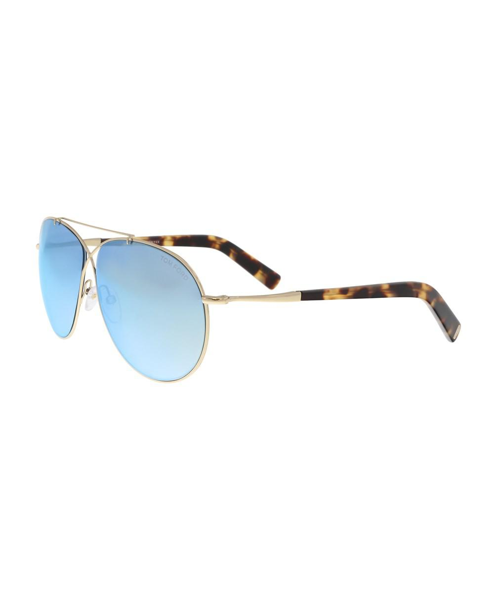 f918531f0b Lyst - Tom Ford Ft0374 s 28x Eva Gold Aviator Sunglasses in Metallic