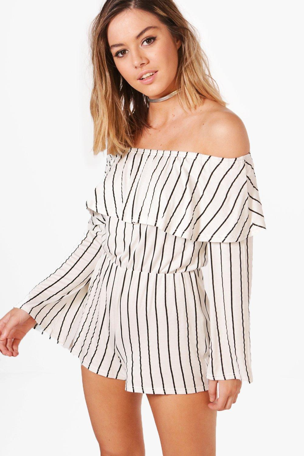 ccf3f068fa Lyst - Boohoo Petite Zoe Frill Stripe Off The Shoulder Playsuit in White