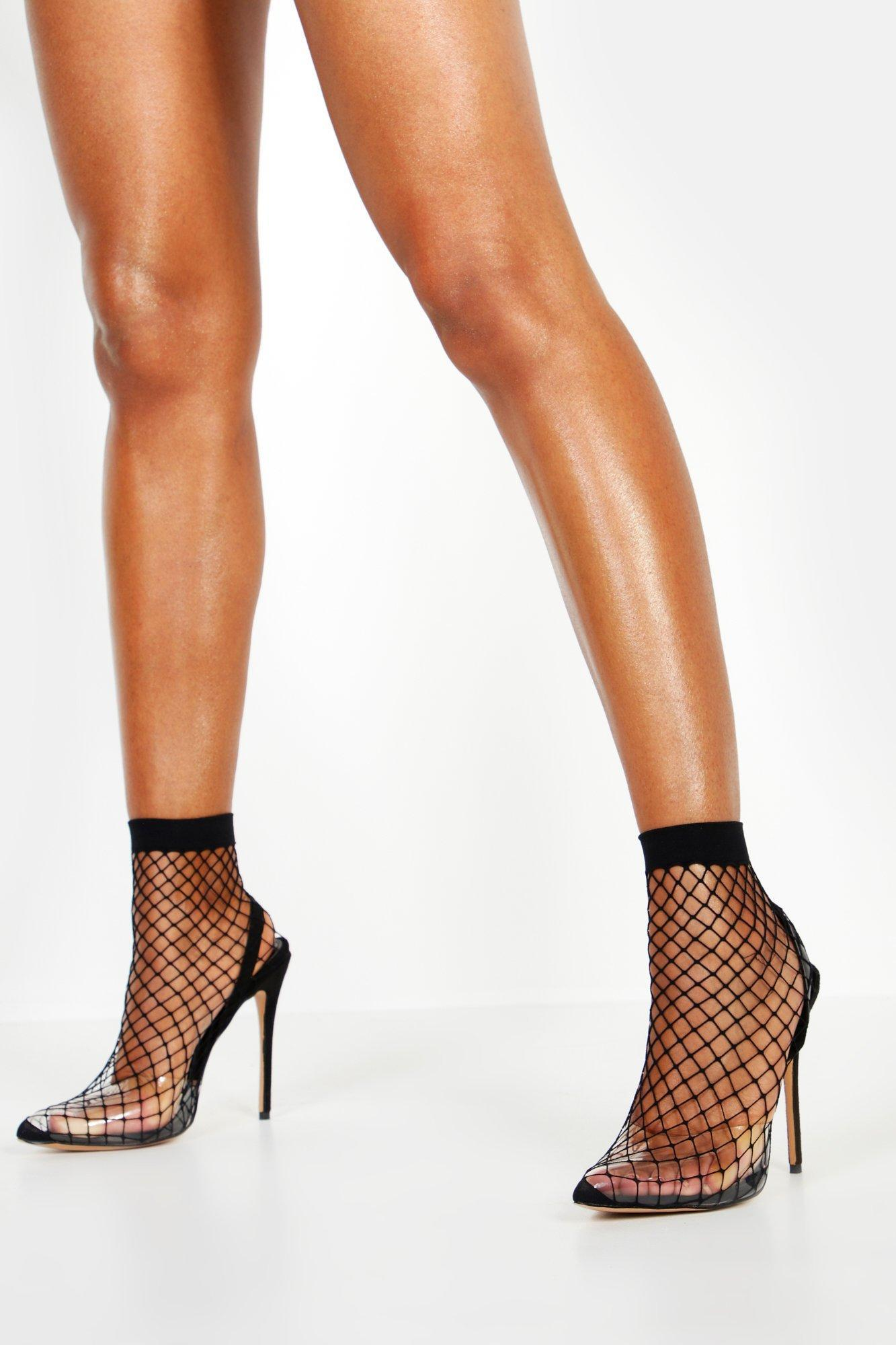 c0386c4bfa Boohoo - Black Fishnet Slingback Pointed Toe Heels - Lyst. View fullscreen
