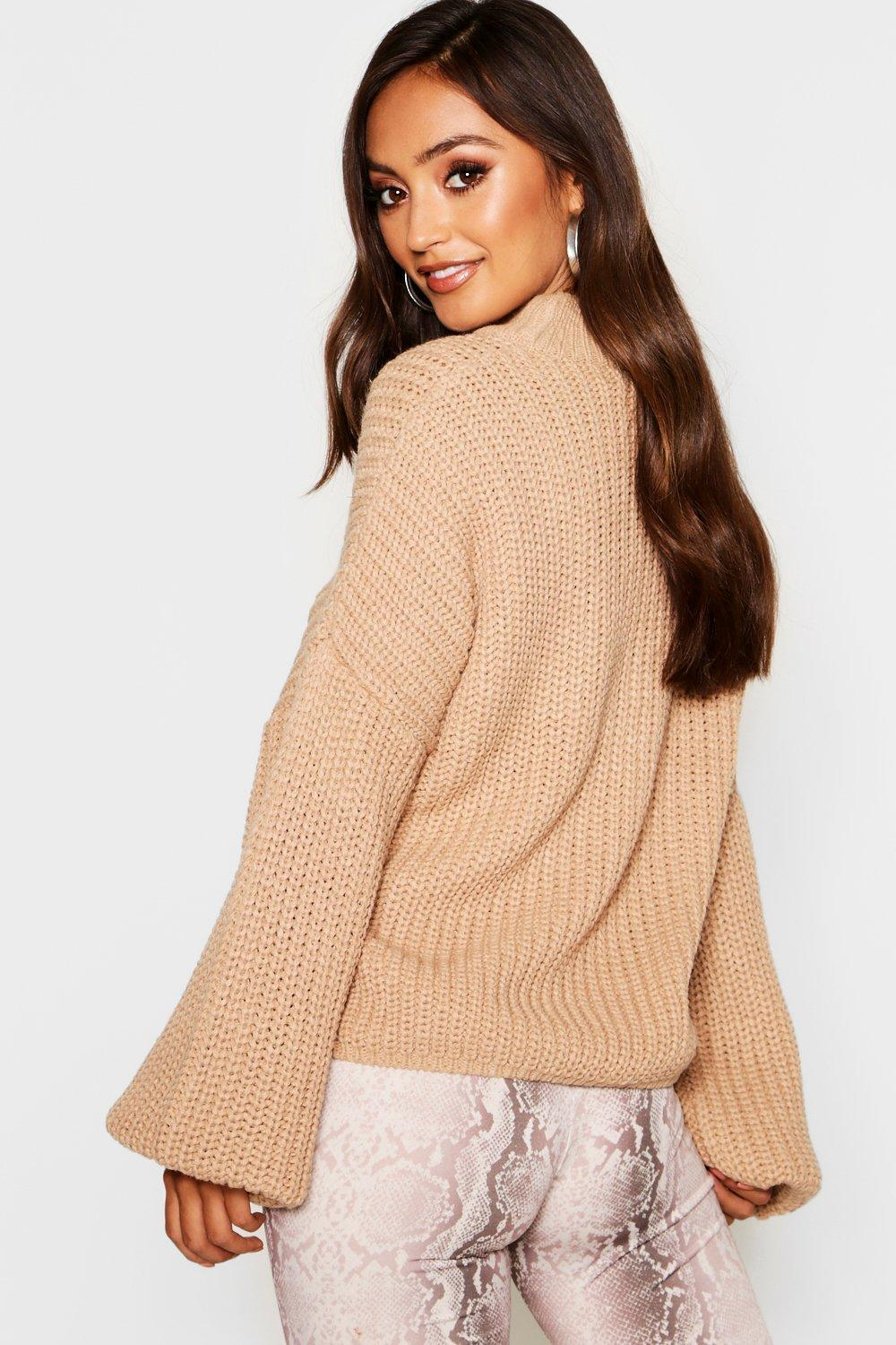 480307ccd Lyst - Boohoo Petite Oversized Bell Sleeve Thick Knit Jumper in Gray