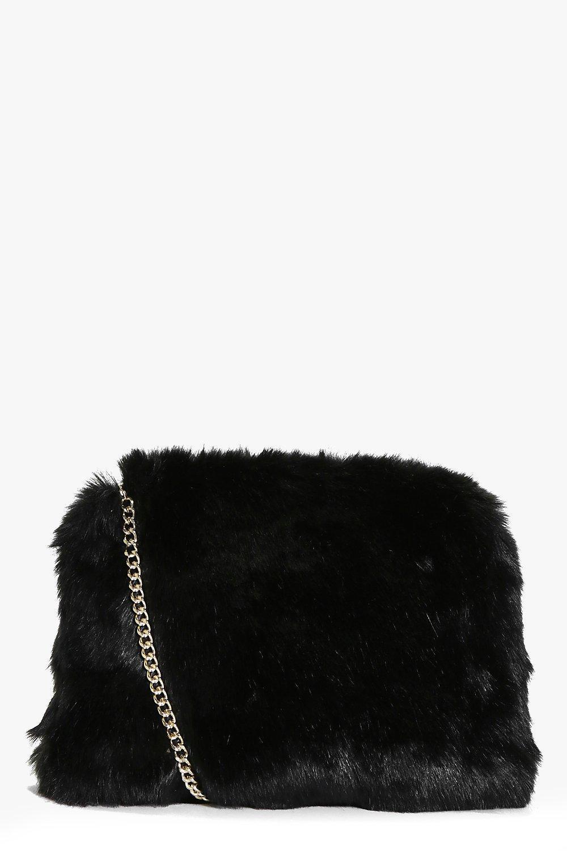 faed9b4ce6d5 Lyst - Boohoo Kara Fluffy Faux Fur Cross Body Bag in Black