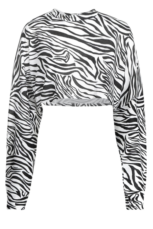 66fac422168cd ... Knitted Batwing Boxy Crop Top Zebra Animal Print - Lyst. View fullscreen