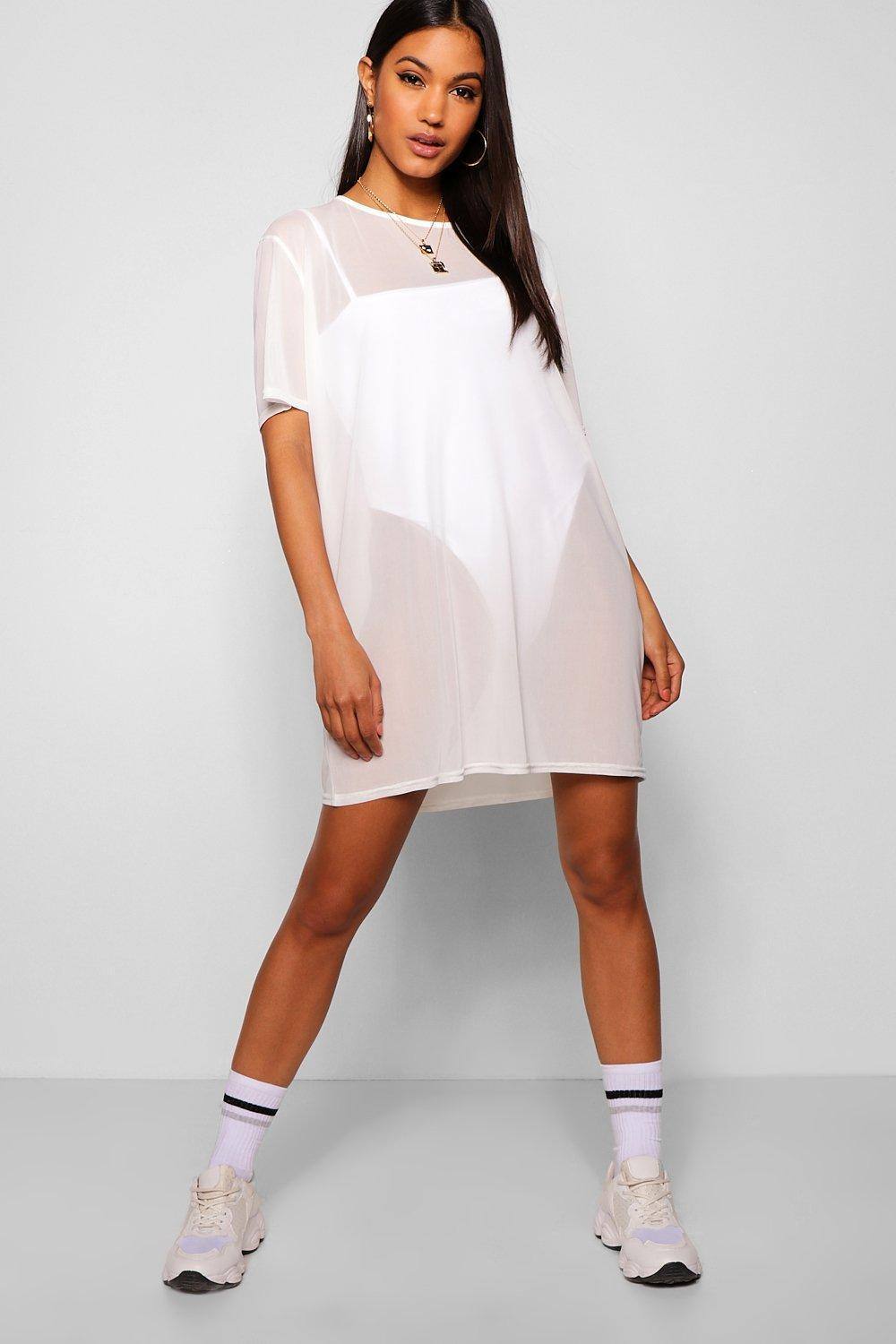 1fbdd7bc5f1 Boohoo - White Oversized Mesh T-shirt Dress - Lyst. View fullscreen