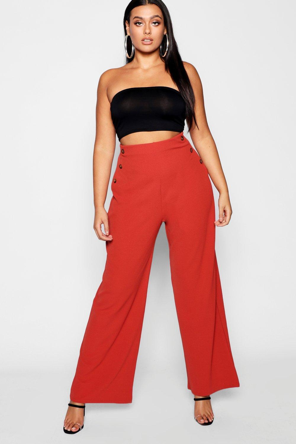 5836f4cd0c0f Lyst - Boohoo Plus Horn Button Front Pants in Brown