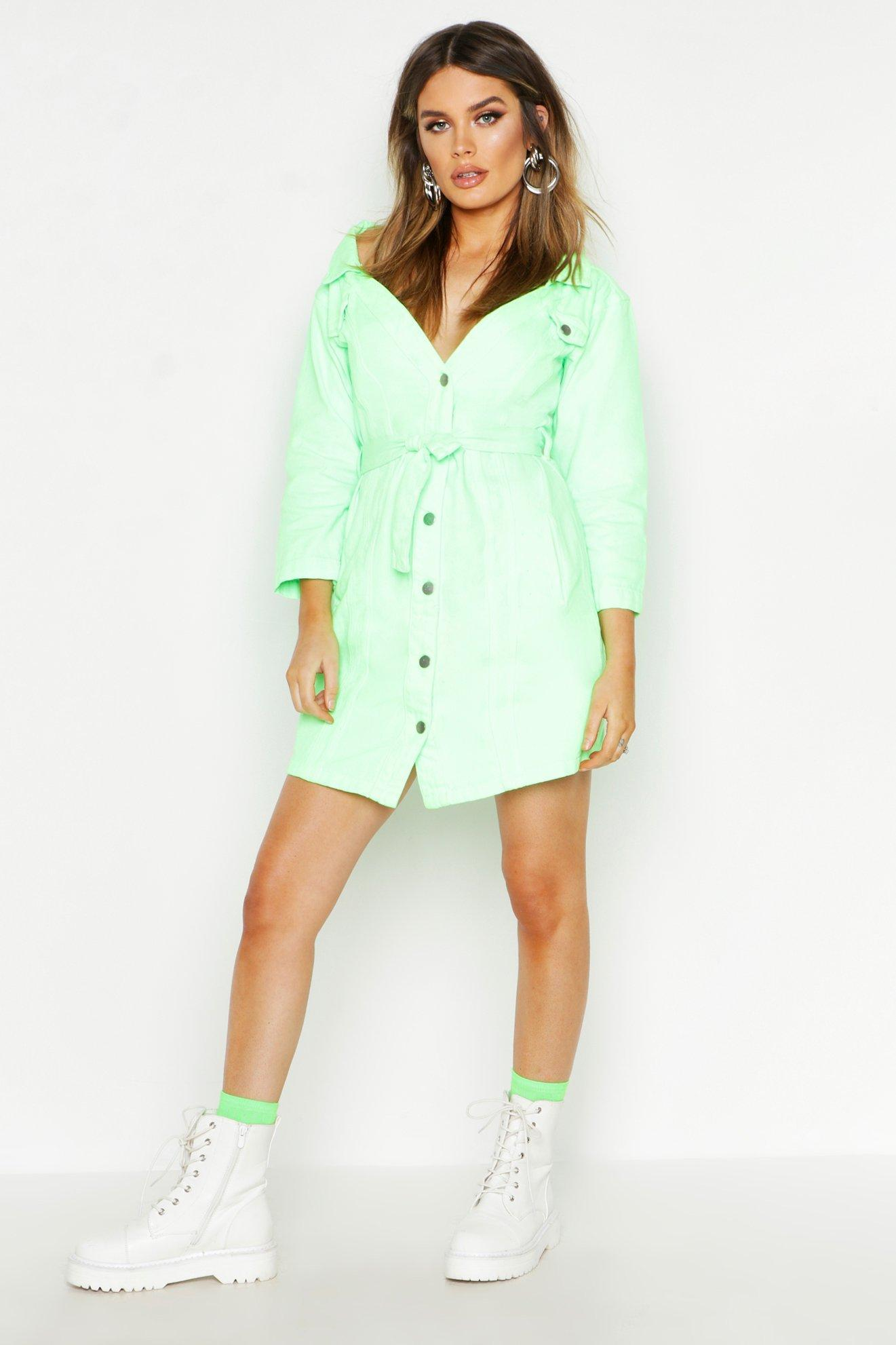c8a1769cfb Lyst - Boohoo Neon Off The Shoulder Denim Dress in Green