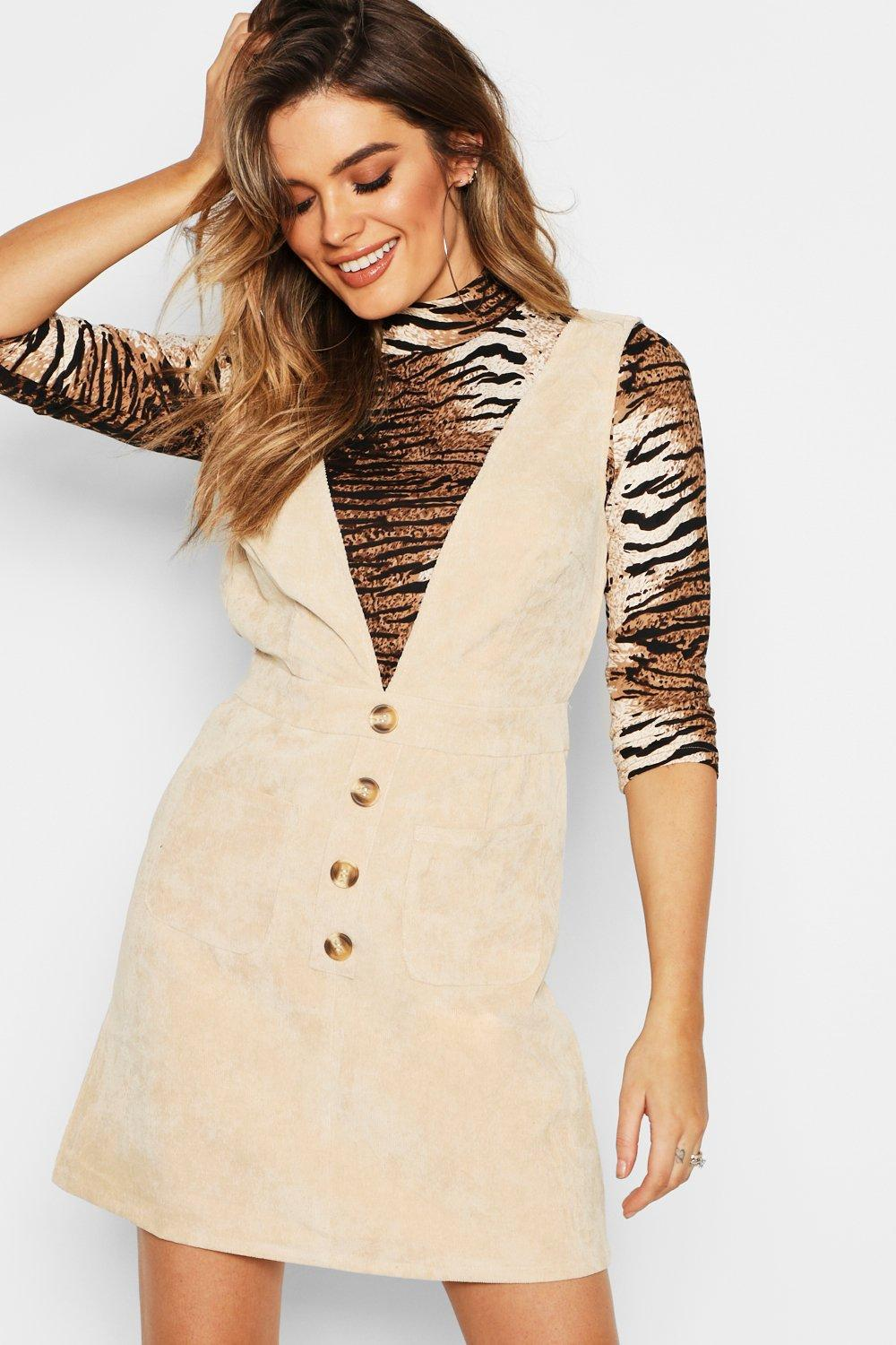 3106bb7c51 Boohoo Corduroy Mock Horn Button Pinafore Dress in Natural - Lyst