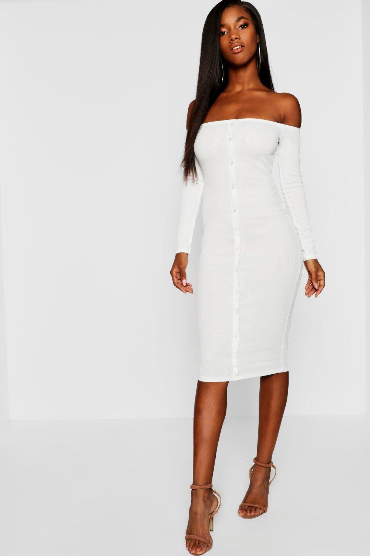 136914a4daef Lyst - Boohoo Bardot Button Midi Rib Knit Dress in White