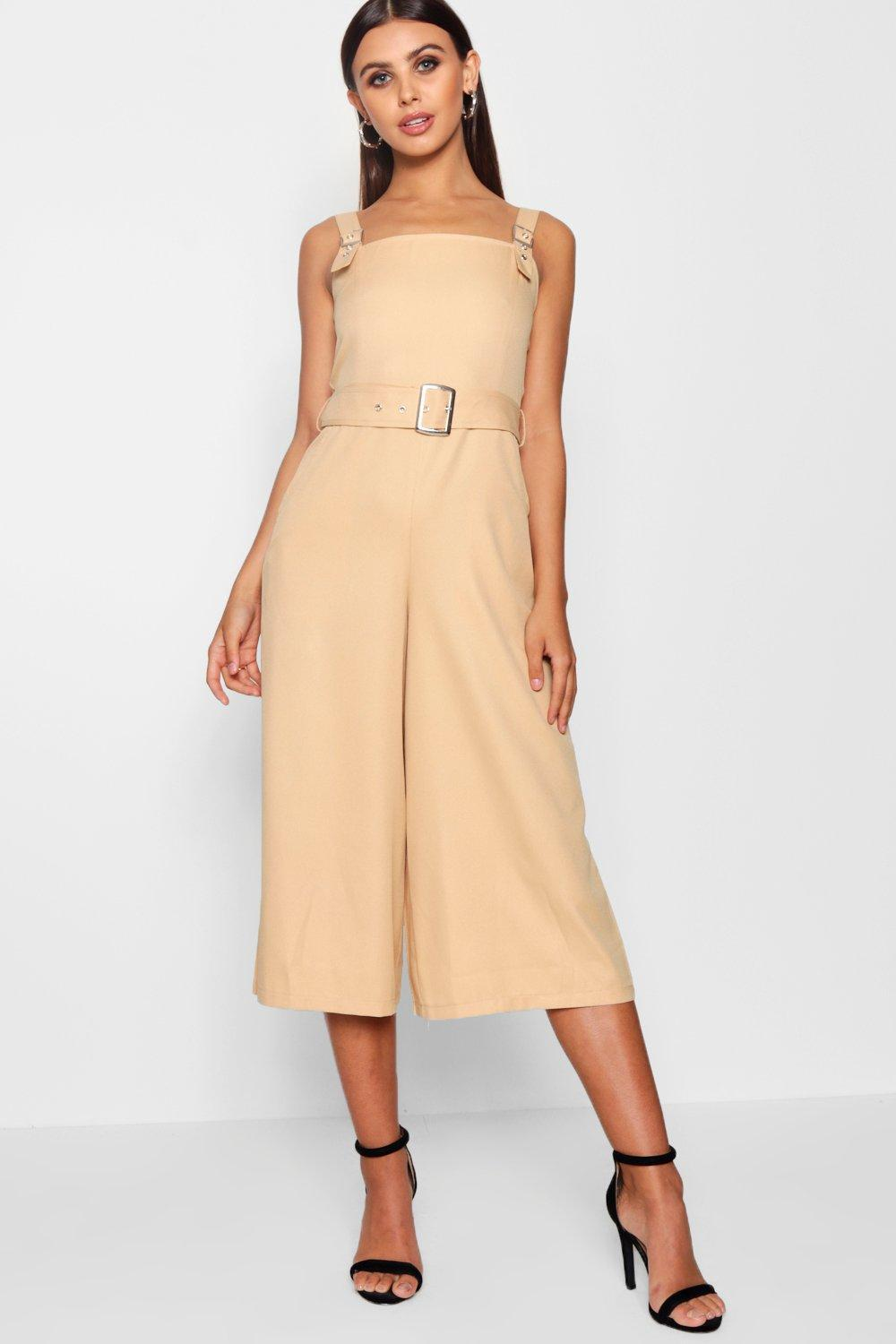91521aee3a Lyst - Boohoo Petite Belted Square Neck Woven Jumpsuit in Natural