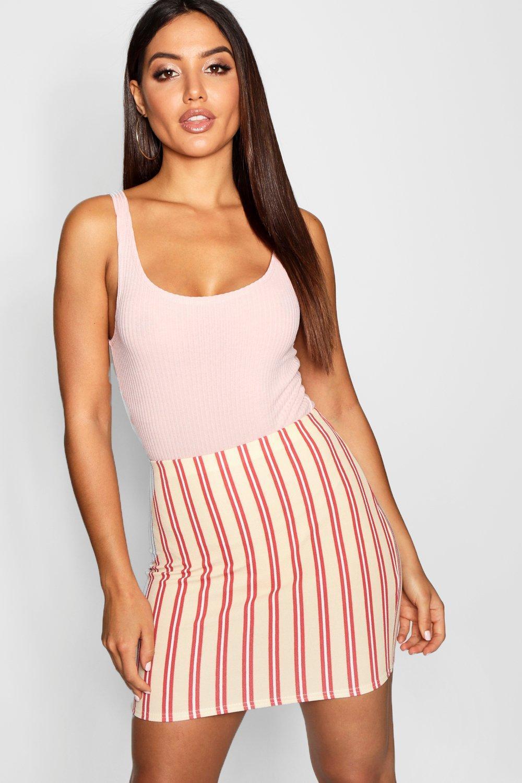 85d53099ca Lyst - Boohoo Tonal Stripe Crepe Mini Skirt
