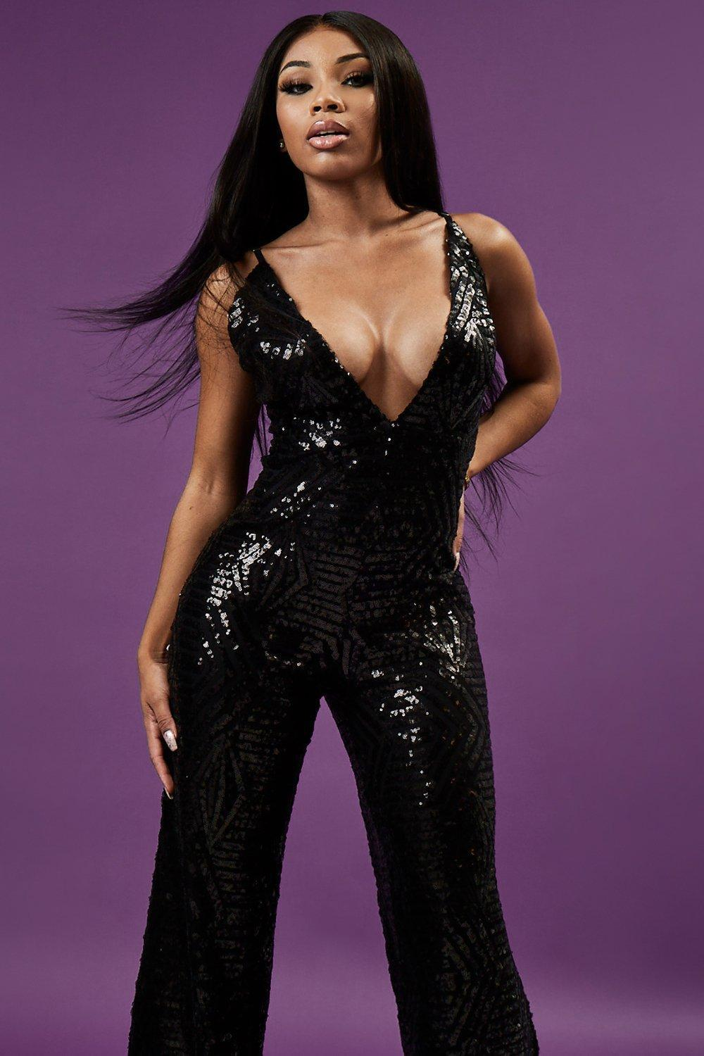 600f4792f52 Boohoo Sequin Plunge Wide Leg Jumpsuit in Black - Lyst