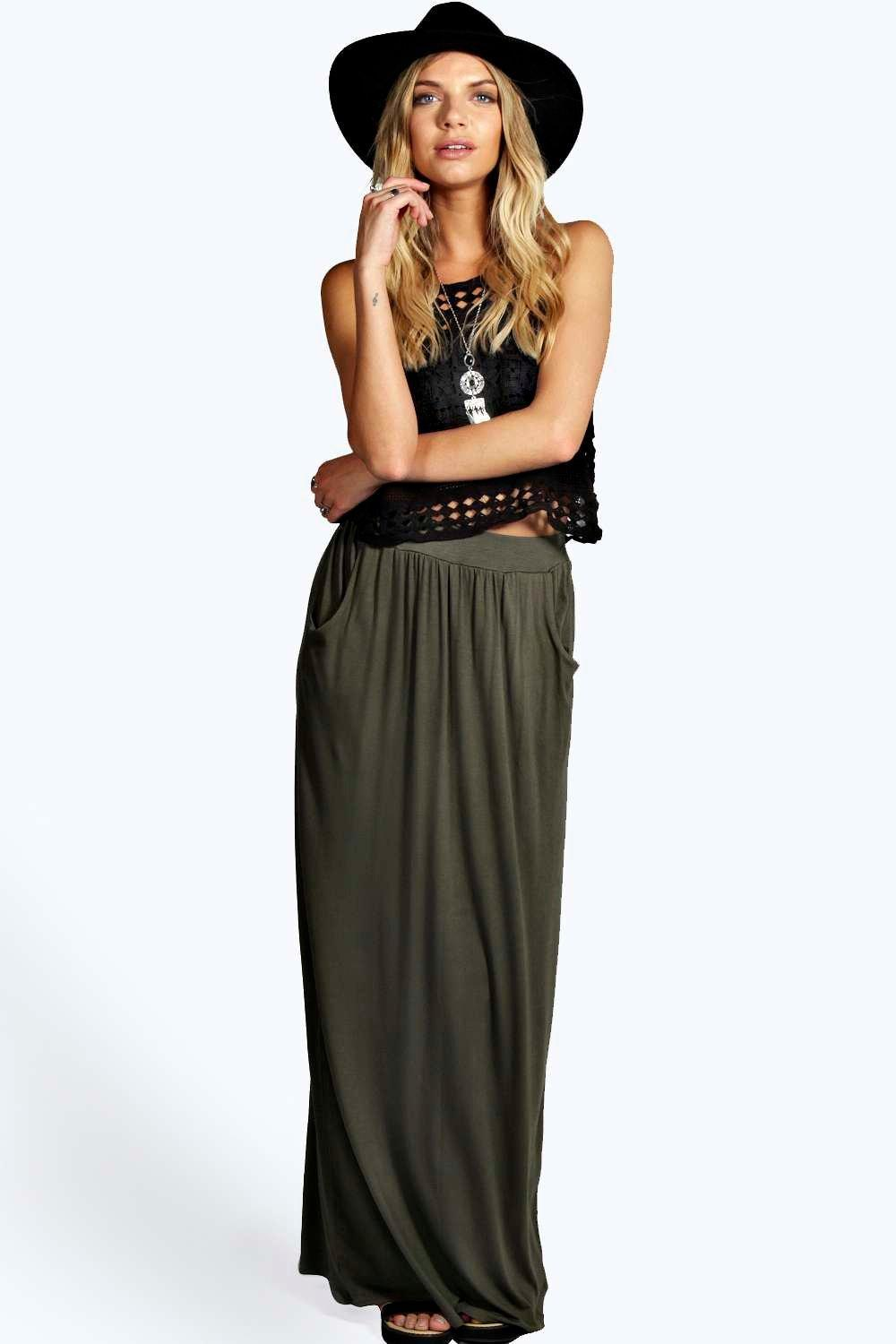 d2696a1e07c Lyst - Boohoo Basic Pocket Front Jersey Maxi Skirt in Natural