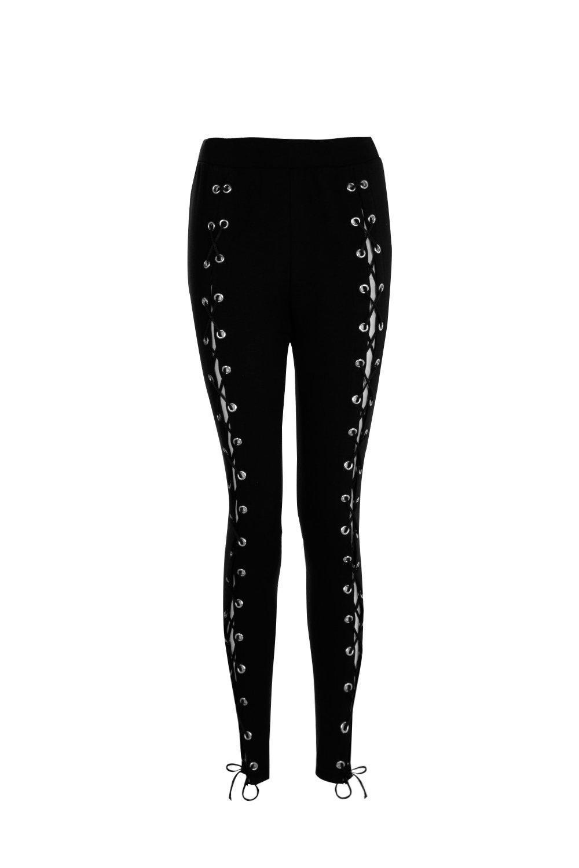 Boohoo - Black Premium Lace Up Front Trousers - Lyst. View fullscreen 18386e4fd