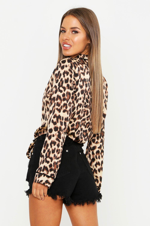 700163a76a19ea Boohoo - Black Petite Leopard Print Satin Tie Front Shirt - Lyst. View  fullscreen