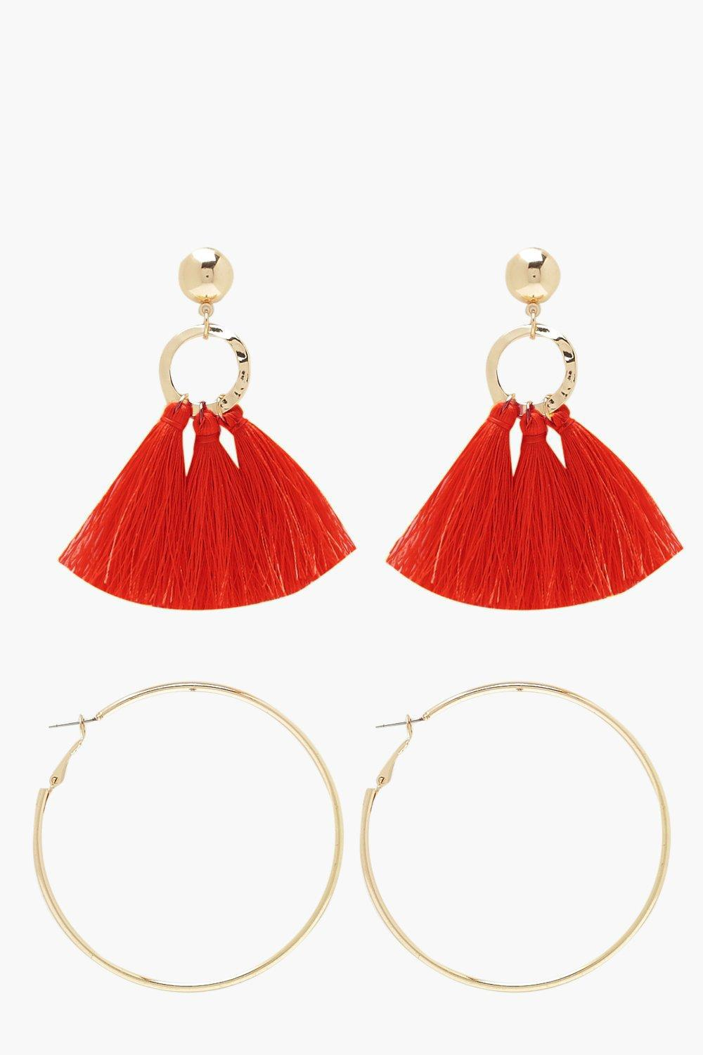 cffaaf9ca5c Boohoo Tassel And Hoop Earring Pack in Red - Lyst
