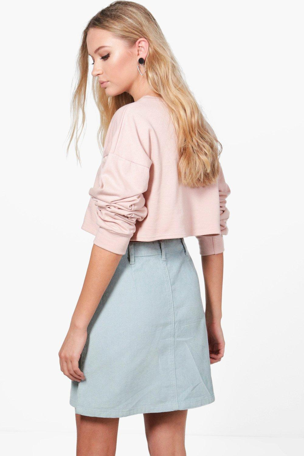 b83b37652 Boohoo Martha A-line Button Through Cord Skirt in Pink - Lyst