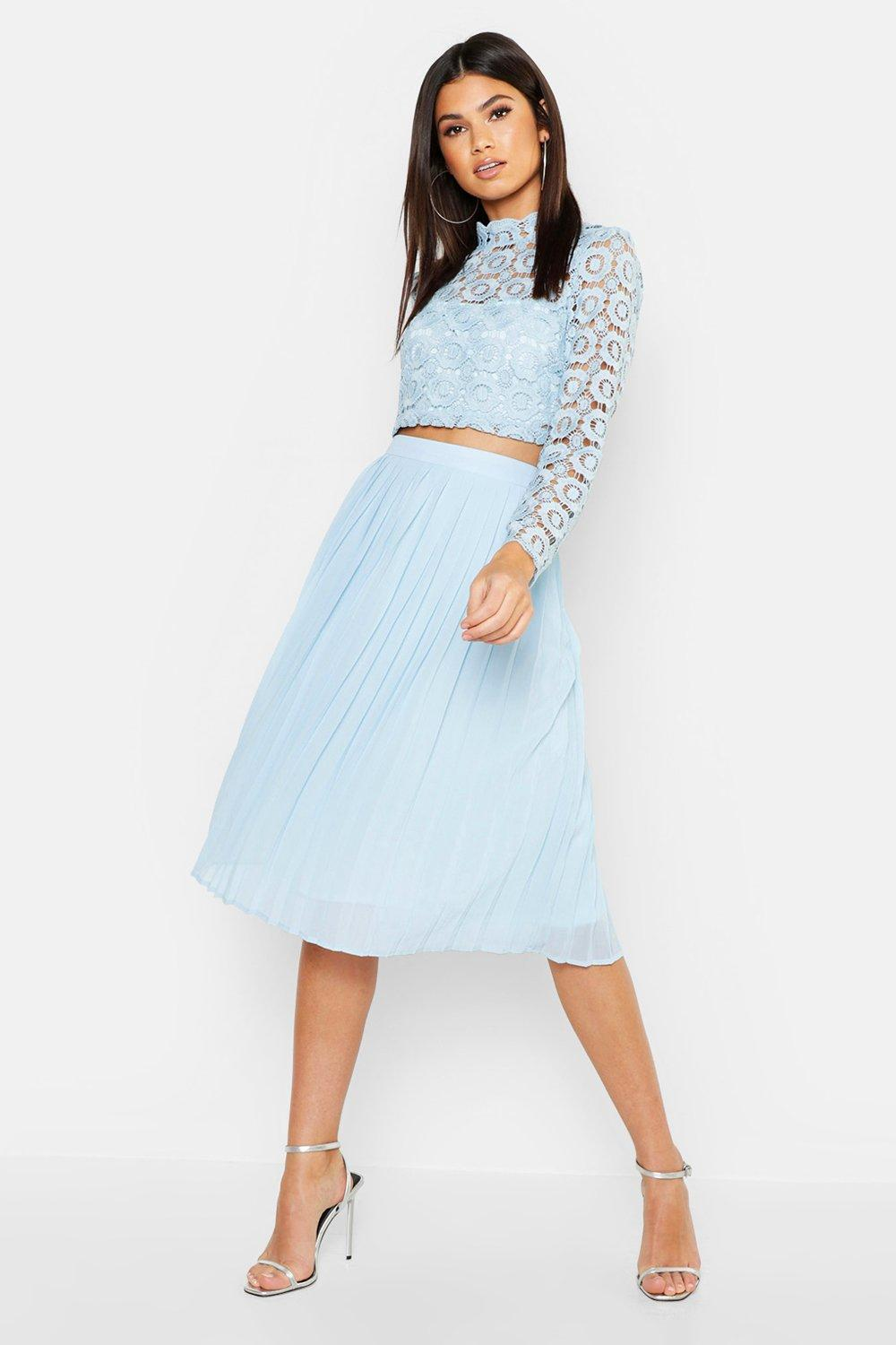 d9907f20180b Boohoo Boutique Lace Top And Midi Skirt Set in Blue - Lyst