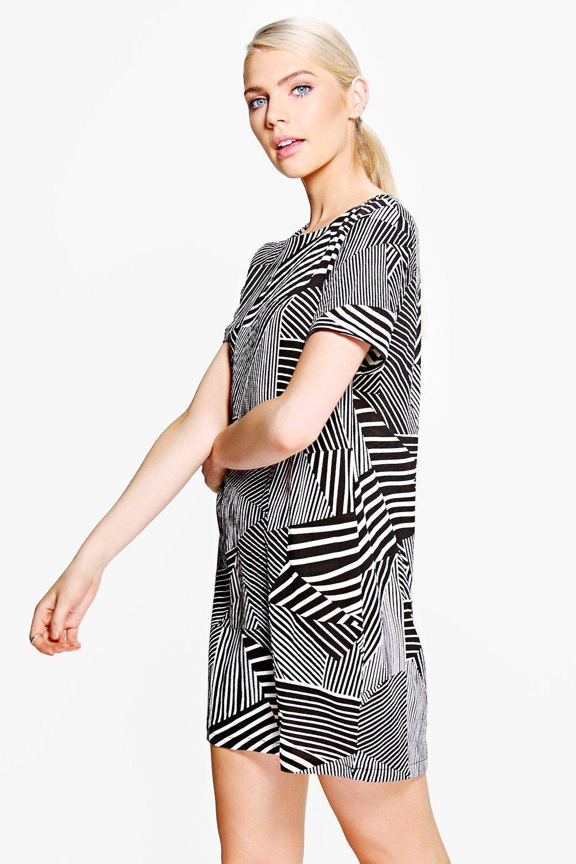 4b0890300919 Boohoo Hermia Monochrome Stripe Shift Dress in Black - Lyst