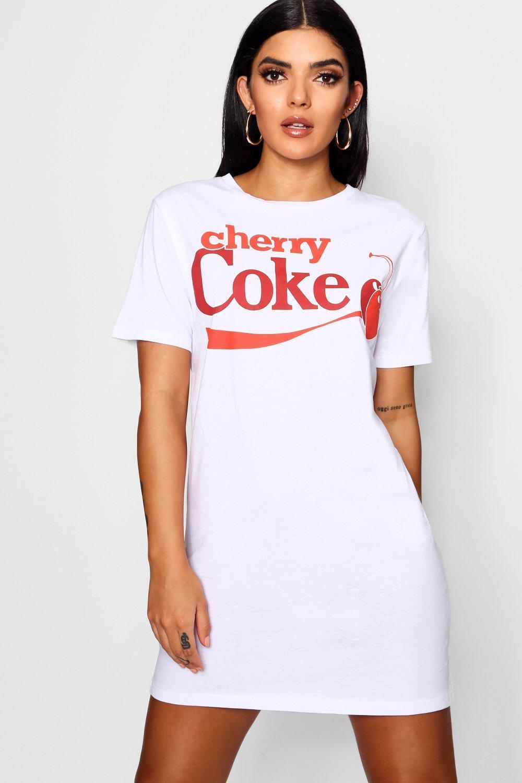 98e1d05fcb0 Boohoo Cherry Coke T-shirt Dress in White - Lyst