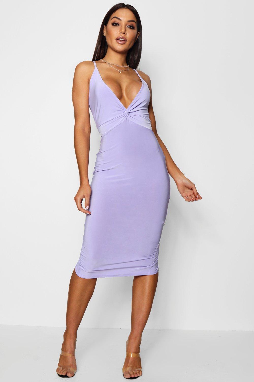 Boohoo Twist Knot Detail Midi Dress in Purple - Lyst