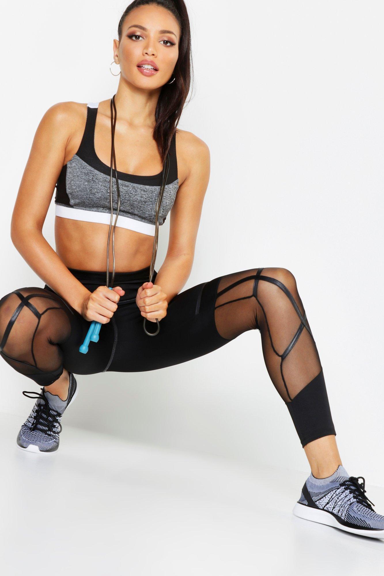 58af994698a72 Boohoo Fit Premium Panel Legging in Black - Lyst
