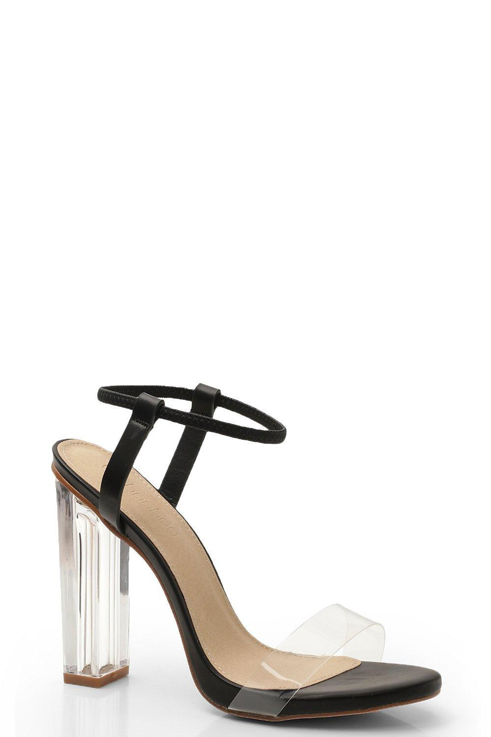 f1284c0fce04 Lyst - Boohoo Halo Ankle Band Clear Heel 2 Parts in Black