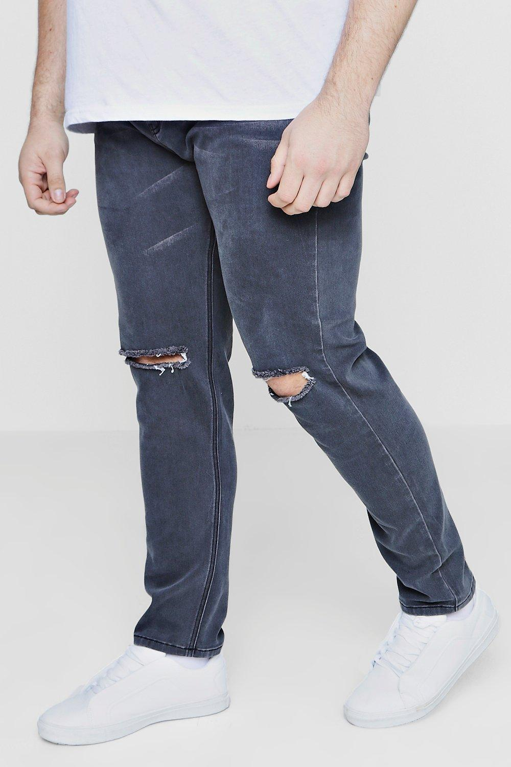 05c7fae44178f Boohoo Big And Tall Slim Fit Ripped Knee Jeans in Blue for Men - Lyst